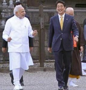 Prime Minister of India Sri Narendra Modi and his japanese counter part Shinzo Abey