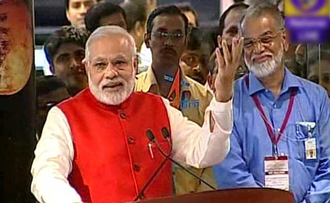 Narendra Modi with ISRO scientists witnessing the historic moment