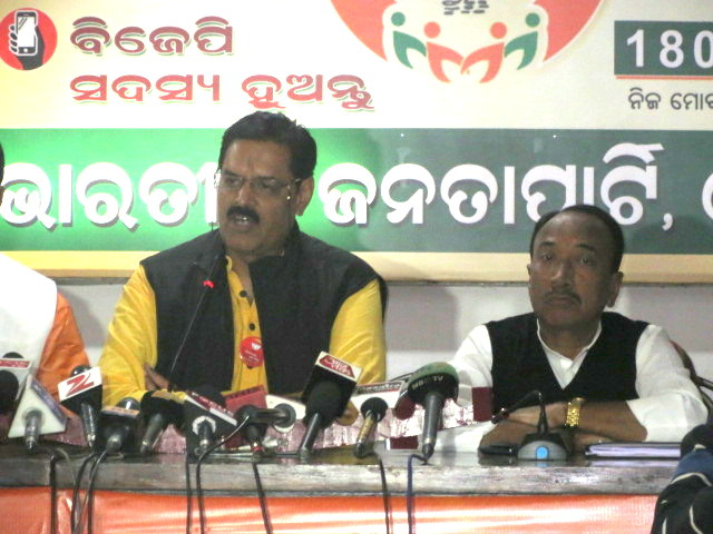K.V Singhdeo addressing the media in party head quarter
